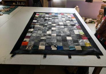patchwok peaux de toros et bord multi color